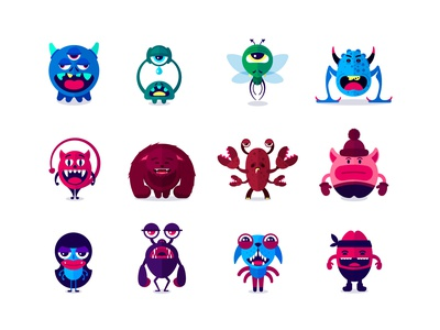 Monsters Stickers Set graphicdesign dog illustrations animals iconset icon stickers colors vector flat illustrator monsters