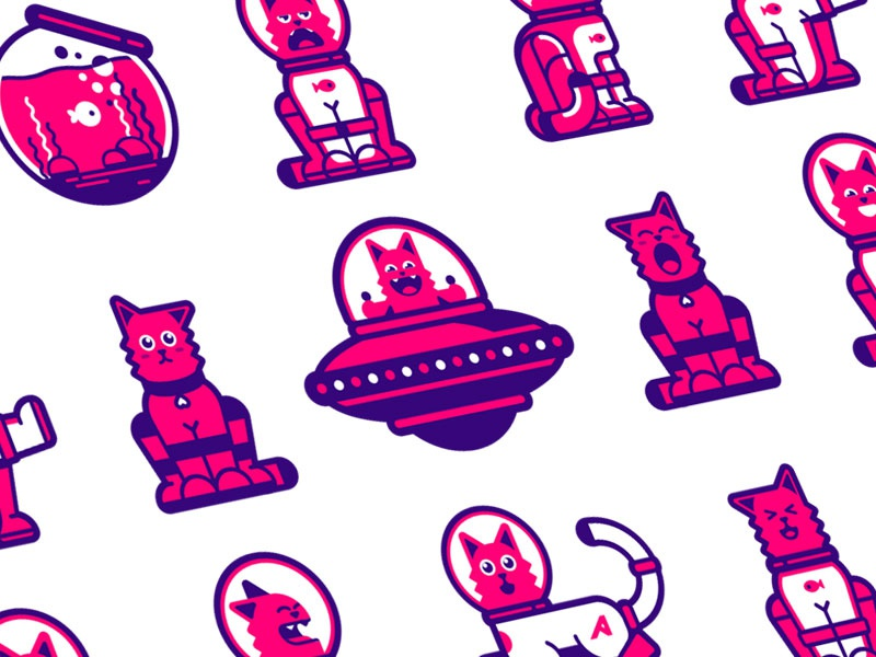 Astrocat graphic animals astronaut character vector illustration space stickers colors line flat cat
