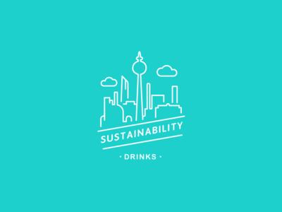 Sustainability drinks badge berlin eco branding visual logo identity green pink blue badge drink sustaineble