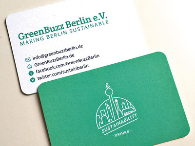 GreenBuzz Berlin business card green icon illustration typography print card business
