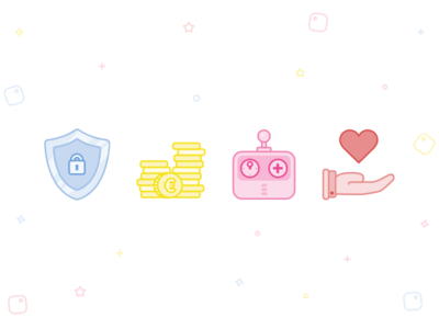 Icon illustrations controller shield coin love game money security fun colour line illustration icon