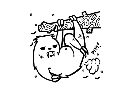 Grumpy Sloth Drawing angry animal character fart flies jungle lines black drawing cartoon sloth grumpy