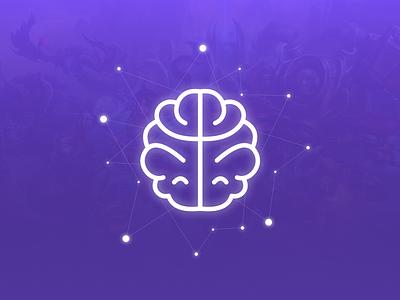 Positive Mindset mind brain vector simple sketch logo icon flat design branding blue illustration