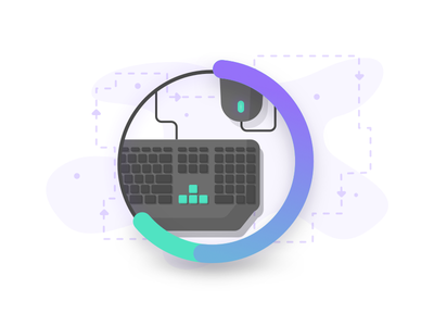 APM Mouse & Keyboard Illustration ap web green blue vector ui logo icon illustration flat design clean