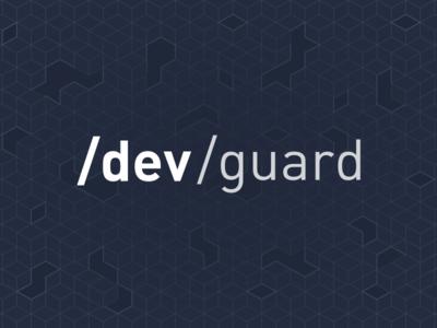 Devguard Logo background geometric lettering design developer tech vector typography branding logo