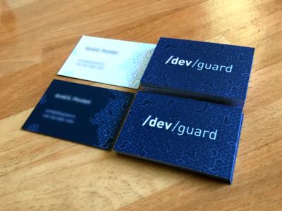 Devguard Business Cards developer vector logo flat branding design illustration typography business card print