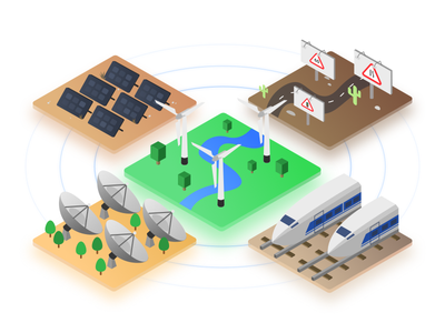 Sustainable Energy design interface ui vector illustration clean colors renewable energy sustainable green isometric
