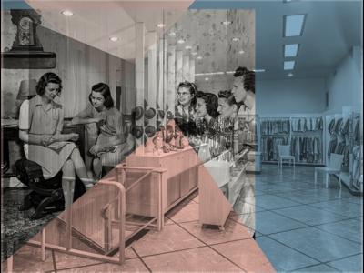 Kitsch pink blue found photographs design colour color shapes photomanipulation
