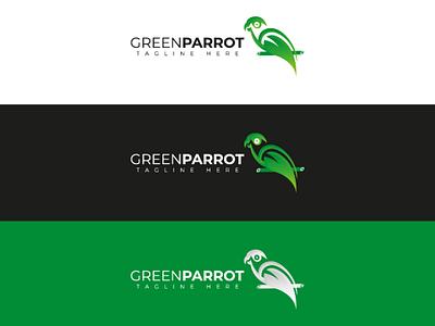 Parrot and leaf logo illustrator brand branding logotype logodesign minimalist logoinspiration parrotlogo logo