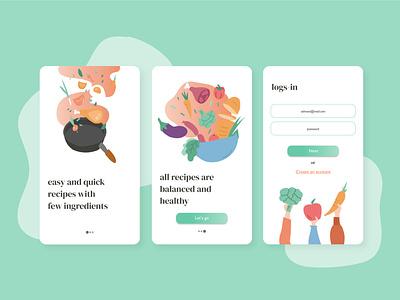 Healthy food minimal vector ui illustration design illustrator graphic design flat app