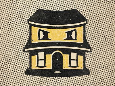 Hungry House comic halftone texture design black distressed vintage illustration retro