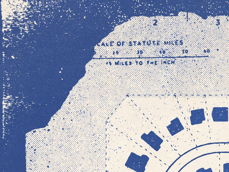 Neighborhood Map typography halftone texture design distressed vintage illustration retro