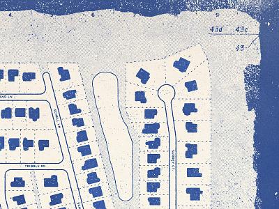 Neighborhood Map 2 map typography halftone texture design type distressed vintage illustration retro