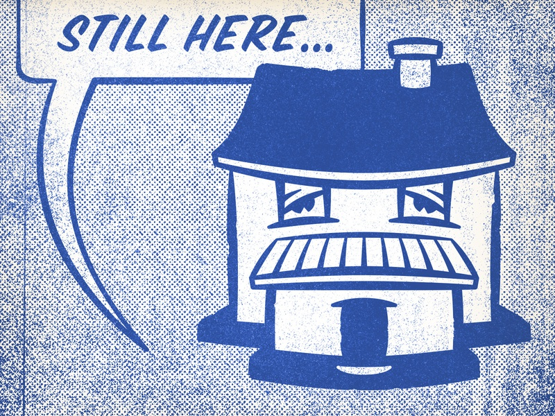 Still Here toner blue distressed comic halftone texture design vintage illustration retro