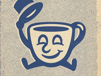 Morning Mr. Coffee comic halftone texture design distressed vintage illustration retro