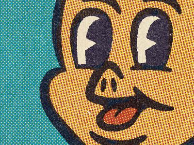Lil'Piggy 50s 40s design comic halftone distressed vintage illustration retro