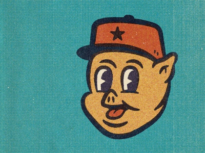 Fascist Pig 50s 40s comic halftone texture design distressed vintage illustration retro