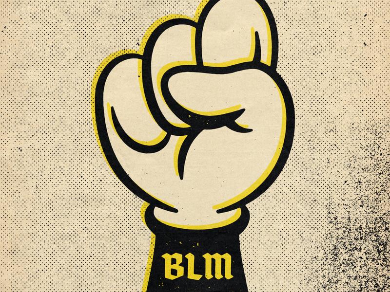 Black Lives Matter typography halftone black type texture design distressed vintage illustration retro