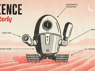 Science Quarterly - 2 comic halftone black type texture design distressed vintage illustration retro