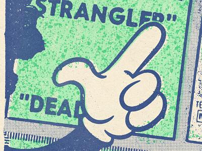 Strangler pointer pointing hand green blue halftone comic texture design distressed vintage illustration retro