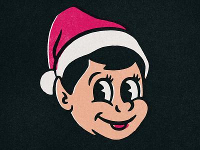 Mr. Jingles is always watching creepy elf christmas 40s comic texture design distressed vintage illustration retro