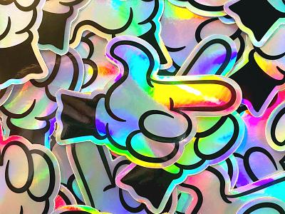 Finga Pointa Holographic Stickers cartoon illustration cartoon character cartoons cartoon vector pointer hand holographic 40s 30s sticker design sticker mule stickermule sticker comic black design vintage illustration retro