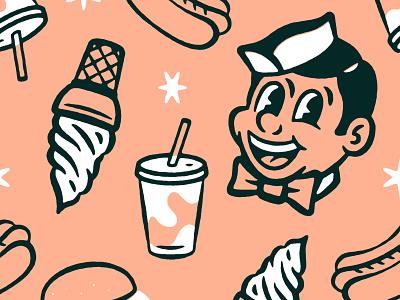 50s Diner Pattern character design character branding restaurant diner 1950s 50s comic texture design distressed vintage illustration retro