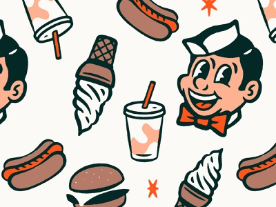 Full Color Vintage Diner Pattern pattern character design character 1950s 1940s 50s 40s branding comic texture design distressed vintage illustration retro