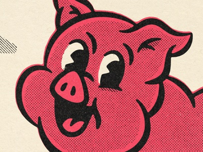 Who loves bacon? 50s 40s character comic texture design distressed vintage illustration retro