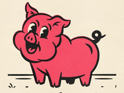 🥓 Future Bacon 🥓 bbq character design character piggy pig 50s 40s comic texture design distressed vintage illustration retro