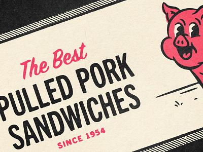 B-B-Q'd 👈 50s 40s character design character restaurant b-b-q bbq piggy pig comic texture design distressed vintage illustration retro