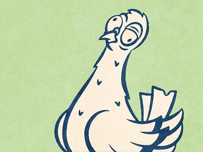 Meet my eye line! character design character pigeon tee shirt t-shirt tee comic texture design distressed vintage illustration retro