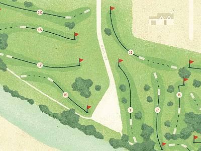 Disc Golf Map Final green disc golf golf vintage retro design texture map illustration