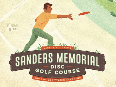 Disc Course 2 green disc golf golf vintage retro design texture map illustration