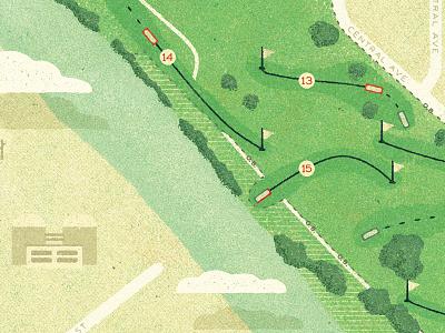 Final Disc Golf Map golf golden books halftone map distressed retro illustration