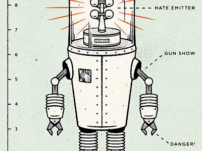 Revenge of the Hatebot comic book comic halftone black robot distressed retro illustration
