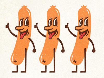 Frankie hot dog hotdog vintage summer 1950s distressed retro illustration