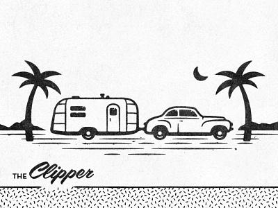 47 Airstream Clipper airstream vintage summer 1950s distressed retro illustration