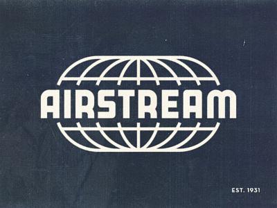Airstream type airstream vintage 1950s distressed retro illustration