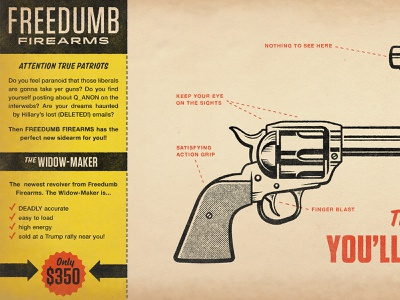 Freedumb Firearms Ad 2 texture halftone distressed retro vintage illustration