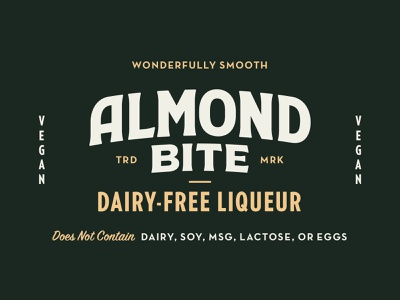 Almond Bite Liqueur Now Available!! design type typography branidentity retro vintage logotype logo brand branding