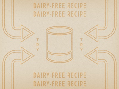 Dairy-Free Recipes typography design texture illustration distressed vintage retro