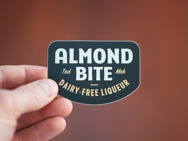 Almond Bite Stickers sticker retro design type vector branding logo vintage