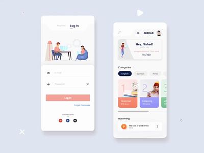Language learn minimal illustration study ui design ios app motion ui animation learn language