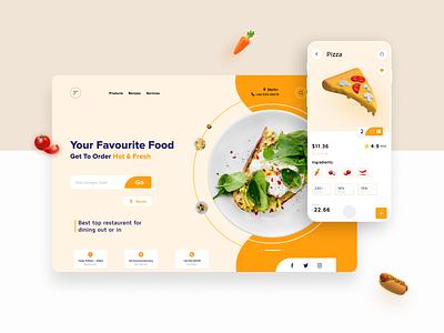 FoodHUB clean ui e-commerce landingpage interface website mobile illustration 3d art food