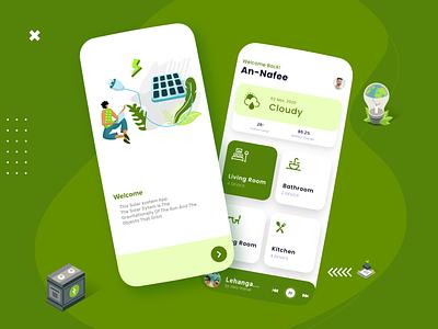 Solar Power phone uidesign battery 3d illustraion smarthome control power solar