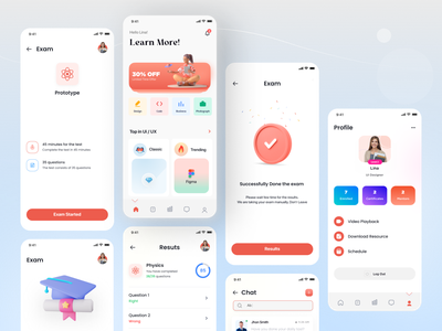 e-Learning minimalist clean log in profile mockup perfect design tools learn design learn ui illustration illu 3d learning