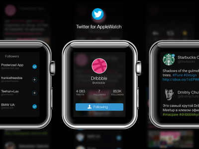 Twitter AppleWatch [Profile, Tweets, Followers] watch apple applewatch ui ux ios twitter social dribbble design concept