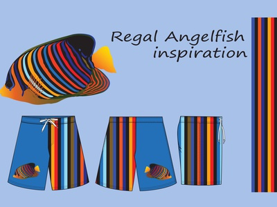 Regal Angelfish Design tech pack pattern bra panty summer photoshop illustrator design 3d 3drendering apparealdesign fashionindustry swimwear swimsute beachwear illustration technicaldesig flatdesign fashion design regal angelfish swim shorts