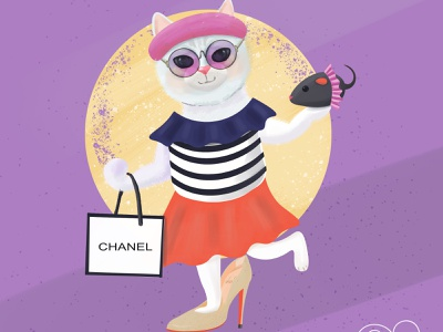 A Very Very Fashionable Cat graphic illustration cartoon chanel fachion cat